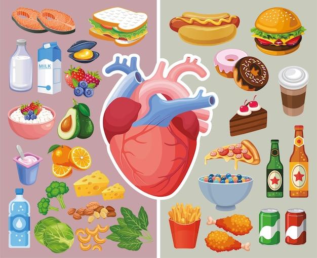 Ilustração do órgão do coração com alimentos saudáveis e alimentos não saudáveis Vetor Premium