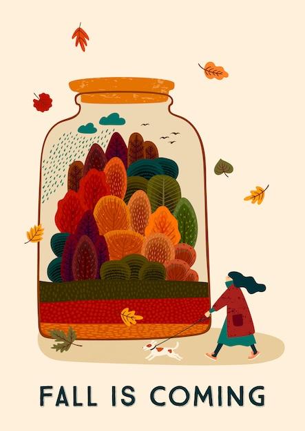 Ilustração do outono com mulher e o cão bonitos. Vetor Premium