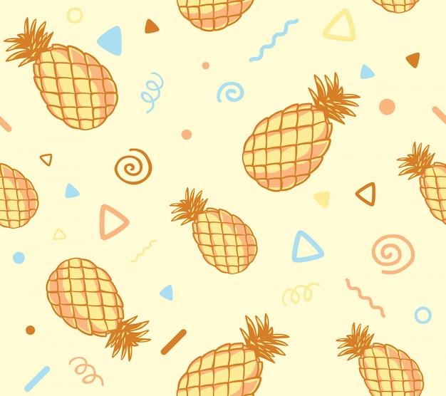 Ilustração do padrão de cor pastel com abacaxis em fundo amarelo. Vetor Premium