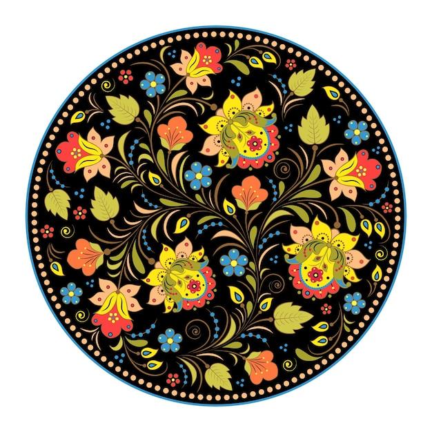 Ilustração do padrão floral tradicional russo. khokhloma. Vetor Premium