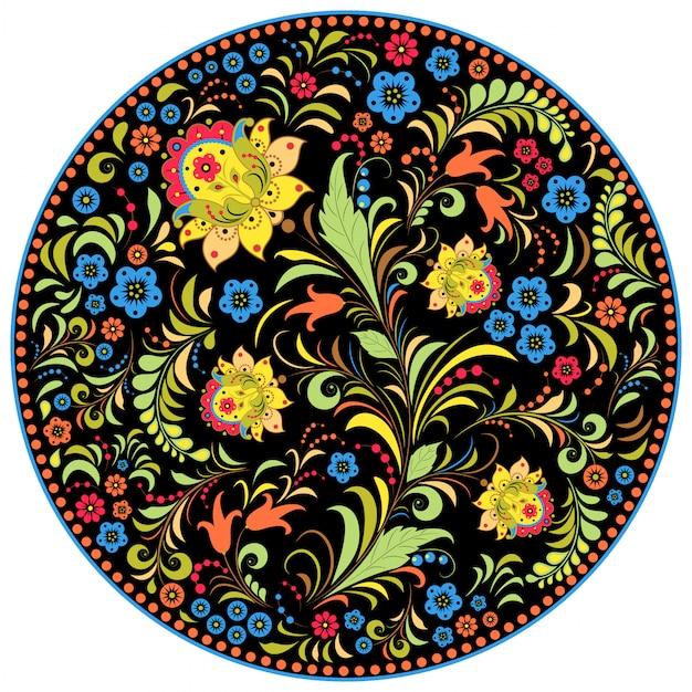 Ilustração do padrão floral tradicional russo. Vetor Premium