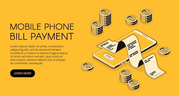 Ilustração do pagamento de conta do telefone móvel do smartphone com recibo do dinheiro e da factura. Vetor grátis