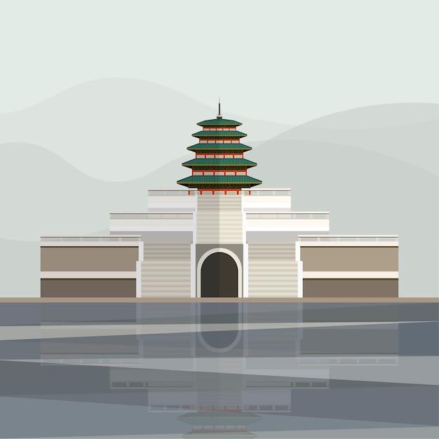 Ilustração do pagode do palácio gyeongbokgung Vetor grátis