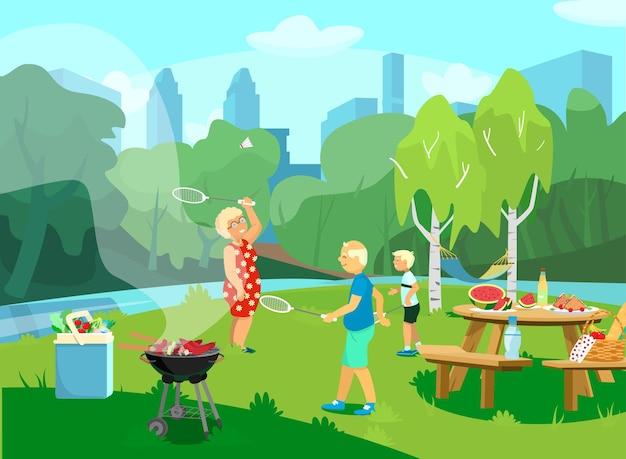 Ilustração do parque csene com avós e netos fazendo piquenique e churrasco no parque, jogando badminton. estilo de desenho animado. Vetor Premium