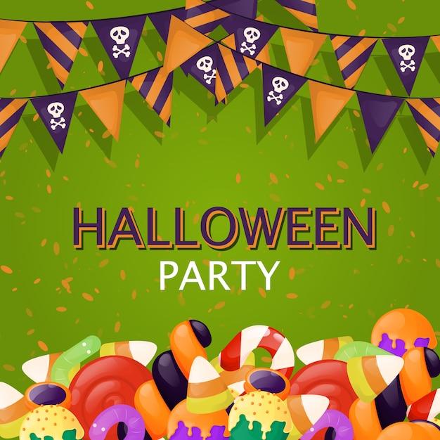 Ilustração do partido do alimento dos doces da doçura ou travessura do fundo de dia das bruxas. convite assustador assustador do outono Vetor Premium
