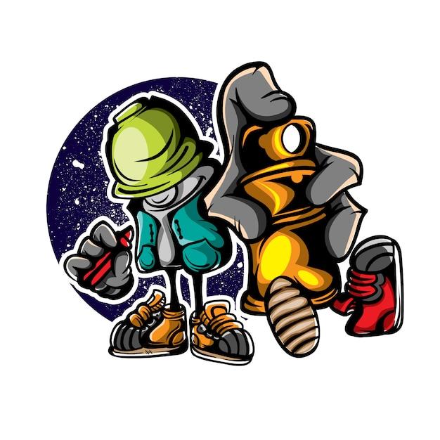 Ilustração do personagem de grafiteiro Vetor Premium