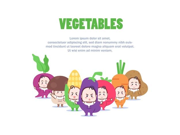 Ilustração do personagem mascote de vegetais Vetor Premium