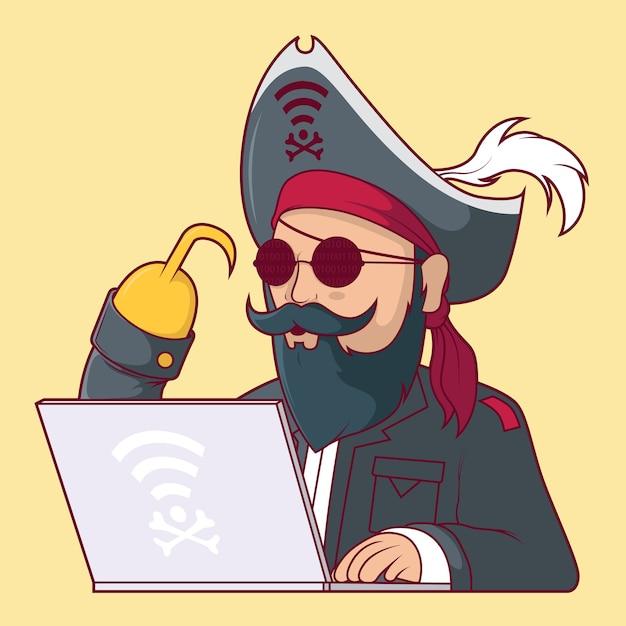 Ilustração do personagem web pirate. Vetor Premium