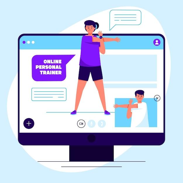 Ilustração do personal trainer on-line Vetor grátis