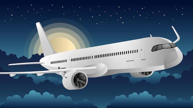 Ilustração do plano de fundo do avião à noite Vetor Premium