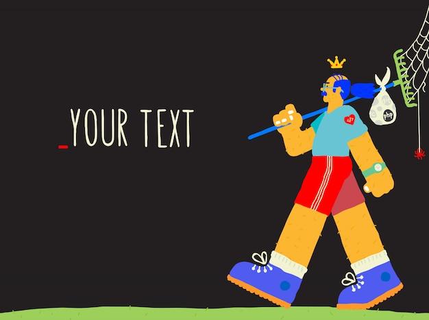 Ilustração do programador. desenvolvedor, designer de layout em um estilo de desenho animado. Vetor Premium