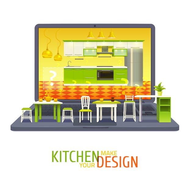 Ilustração do projeto de design de cozinha Vetor grátis