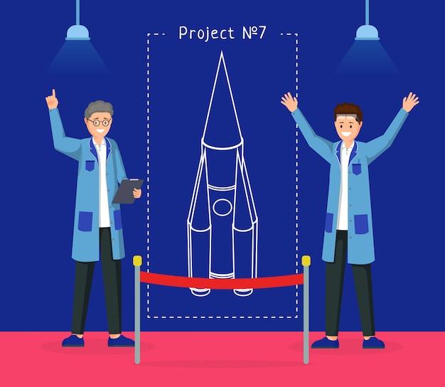 Ilustração do projeto de design de nave espacial Vetor Premium