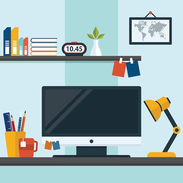 Ilustração do projeto de plano de negócios do computador de mesa de espaço de trabalho de escritório Vetor Premium