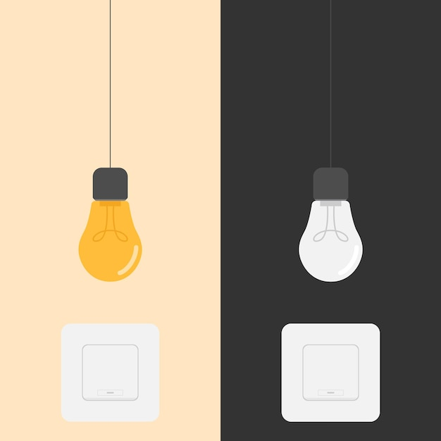 Ilustração do projeto do interruptor para ligar e desligar a lâmpada Vetor Premium