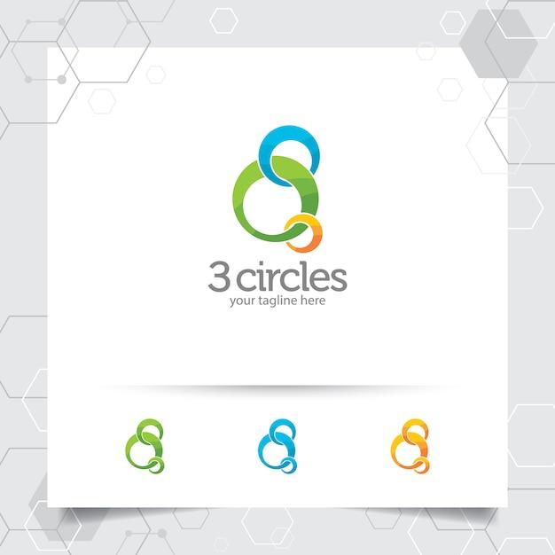 Ilustração do projeto do logotipo do círculo com vetor do círculo de três redemoinhos para o negócio. Vetor Premium