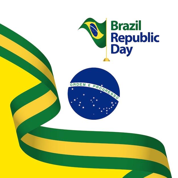 Ilustração do projeto do molde do vetor do dia da república de brasil Vetor Premium