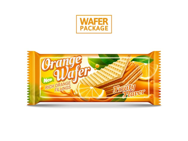 Ilustração do projeto do pacote de wafer laranja Vetor Premium