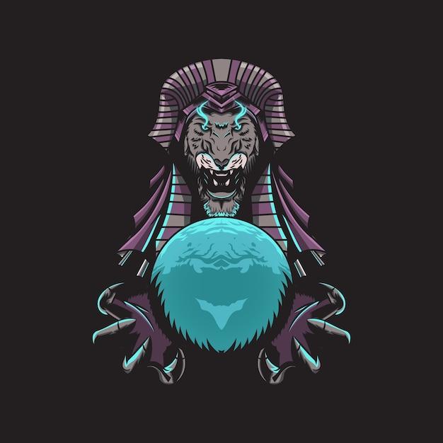Ilustração do rei leão egípcio Vetor Premium