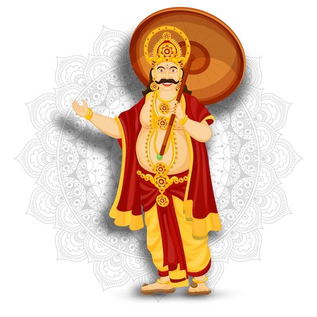 Ilustração do rei mahabali feliz no fundo do teste padrão da mandala para o festival feliz de onam. Vetor Premium