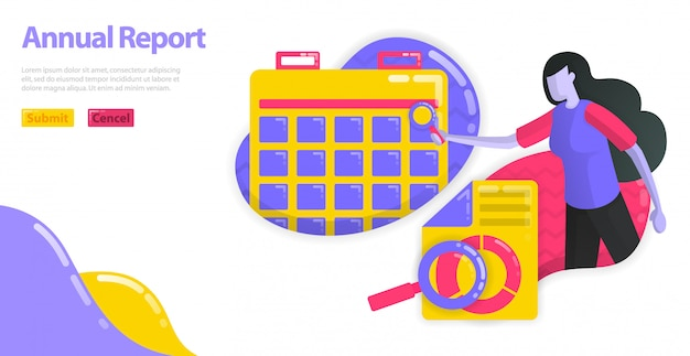 Ilustração do relatório anual. defina o cronograma e o planejamento do relatório contábil da empresa. planejamento financeiro corporativo. Vetor Premium