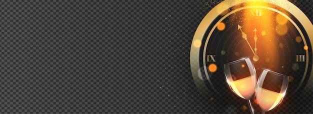 Ilustração do relógio com efeito de luz de brilho e copos de vinho em preto transparente. cabeçalho ou banner. Vetor Premium