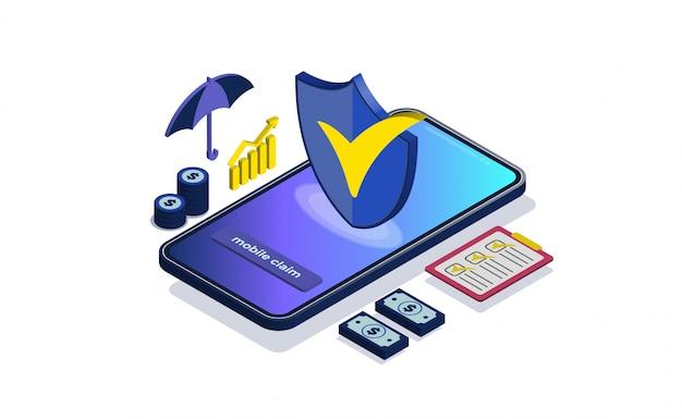 Ilustração do seguro comercial conceito com isométrico. Vetor Premium