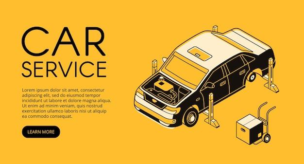 Ilustração do serviço do carro da estação da garagem do automóvel. diagnóstico automotivo mecânico Vetor grátis