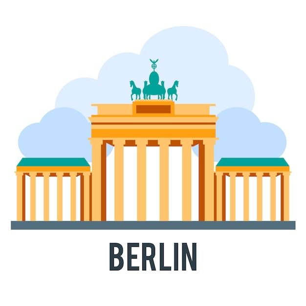 Ilustração do showplace com todos os edifícios famosos. banner linear. Vetor grátis
