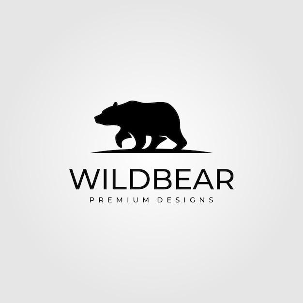 Ilustração do símbolo do logotipo de caminhada de urso vintage Vetor Premium
