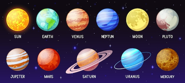 Ilustração do sistema solar de desenho animado Vetor Premium