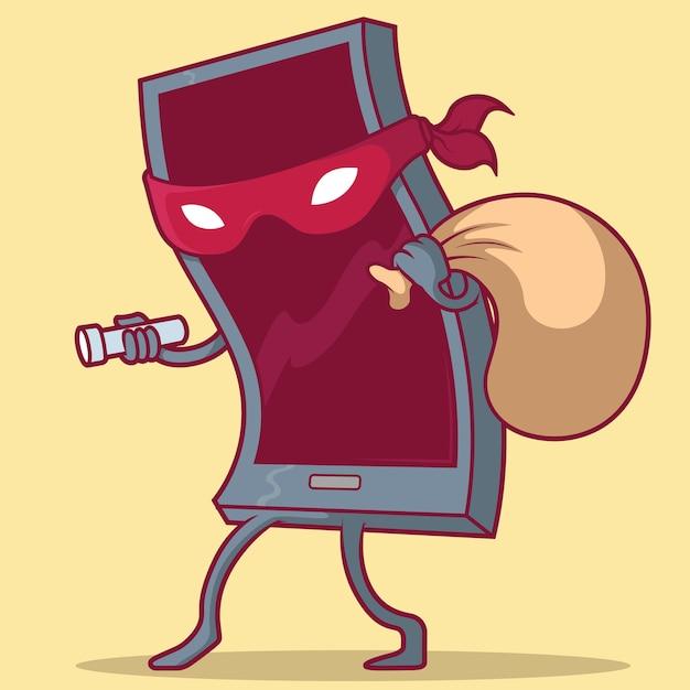 Ilustração do telefone do ladrão Vetor Premium