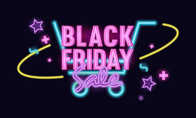 Ilustração do tema do carrinho de compras black friday sale luz néon Vetor Premium