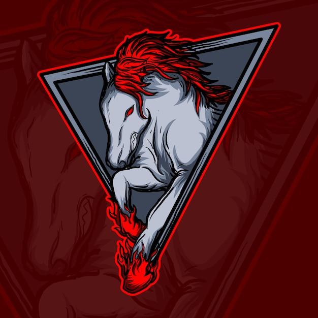 Ilustração do trabalho de arte e design de camiseta logotipo do cavalo de fogo Vetor Premium