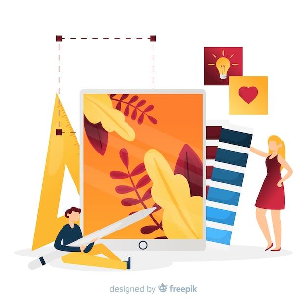 Ilustração do trabalho em equipe de design gráfico Vetor grátis