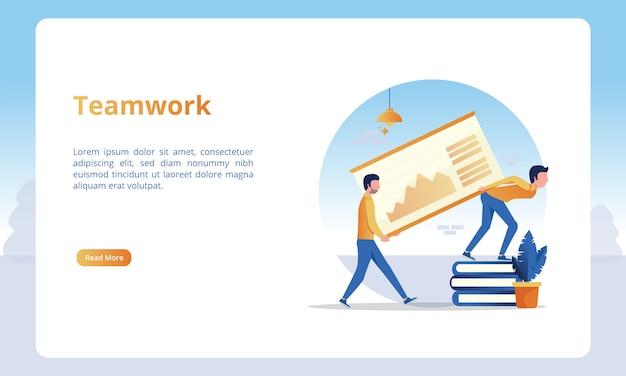Ilustração do trabalho em equipe para modelos de página de destino de negócios Vetor Premium