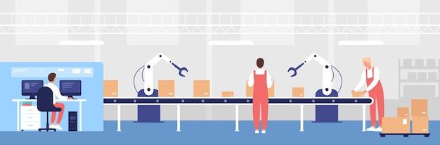 Ilustração do transportador de carregamento do armazém. pessoas trabalhadoras de desenhos animados trabalham, carregam caixas de linha com ajuda de equipamento de braço robótico, personagem de operador de armazenamento controlando plano de fundo do processo de armazenamento Vetor Premium
