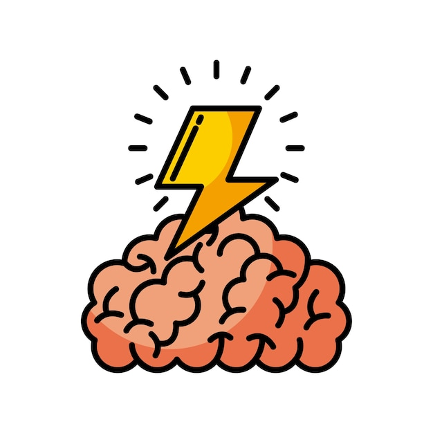 Ilustração do trovão do cérebro Vetor Premium