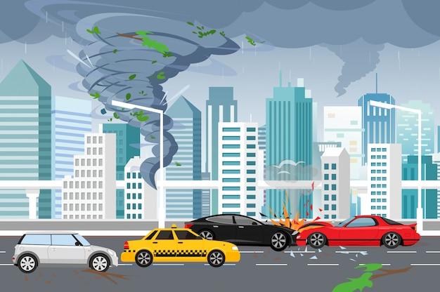 Ilustração do turbilhão tornado e inundação, tempestade na grande cidade moderna, com arranha-céus. furacão na cidade, acidente de carro, conceito de perigo em estilo simples. Vetor Premium