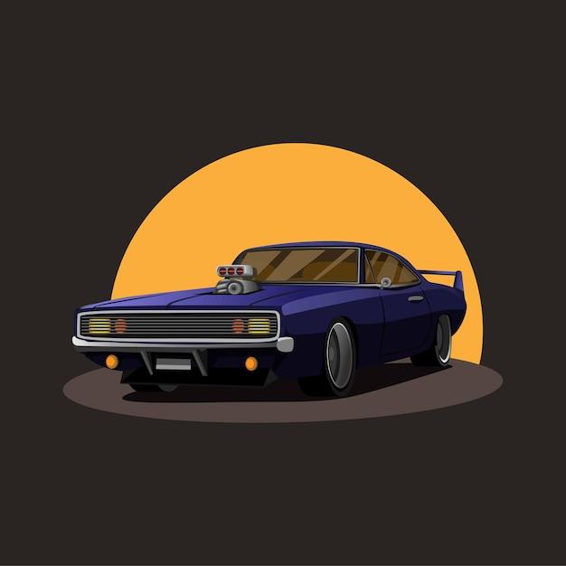 Ilustração do turbo do supercharger retro do muscle car americano com o pôr do sol no conceito de fundo no desenho animado Vetor Premium