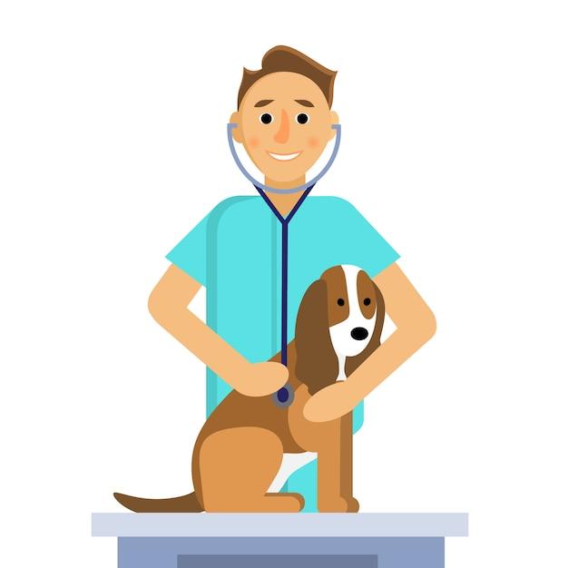 Ilustração do veterinário masculino fazendo um exame de cachorro fofo na mesa médica Vetor Premium