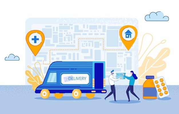 Ilustração do vetor da entrega da medicamentação. Vetor Premium