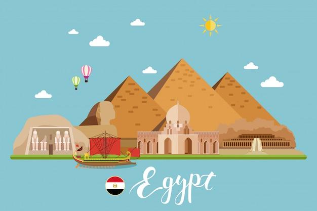 Ilustração do vetor da paisagem do curso de egipto Vetor Premium