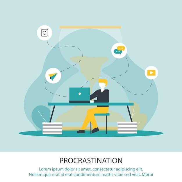 Ilustração do vetor da procrastinação da inscrição. Vetor Premium