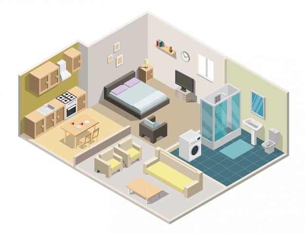 Ilustração do vetor de apartamento interior isométrica. Vetor Premium