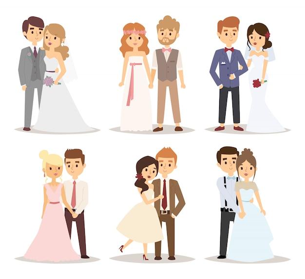 Ilustração do vetor de casal de noivos Vetor Premium