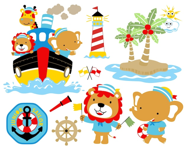 Ilustração do vetor de desenhos animados ajustados do tema da navigação. Vetor Premium