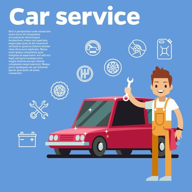 Ilustração do vetor de dicas de carros. auto mecânico com a chave contra o carro vermelho no fundo. auto serviço de reparação de automóveis, homem técnico Vetor Premium