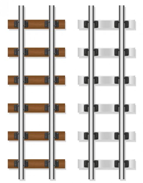Ilustração do vetor de dormentes de madeira e concreto de trilhos de trem Vetor Premium