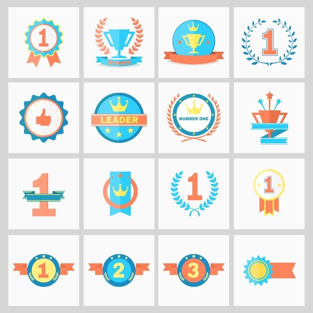 Ilustração do vetor de emblemas de primeiro lugar e fitas de vencedor Vetor grátis